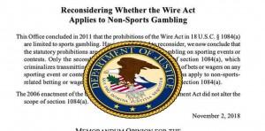 DOJ Maintains Its Stand on Its Wire Act Reinterpretation