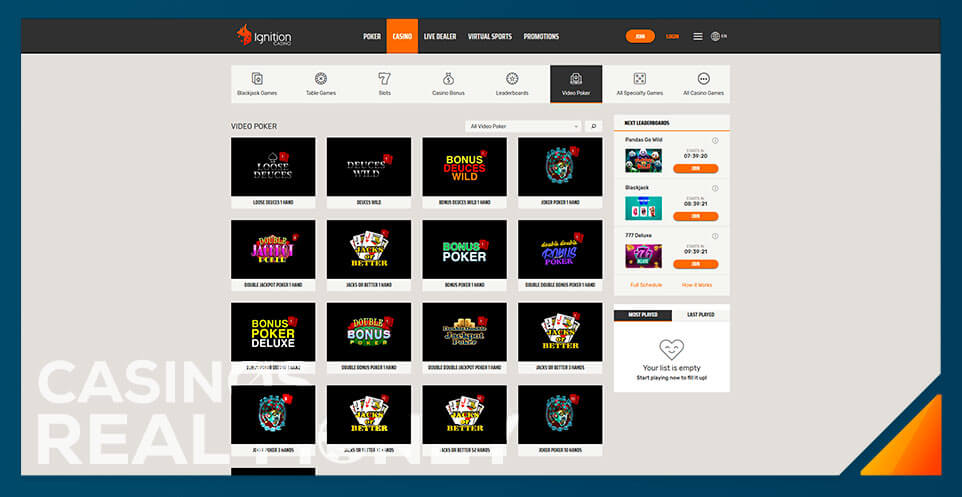 Image of Ignition Casino Video Poker Game Selection