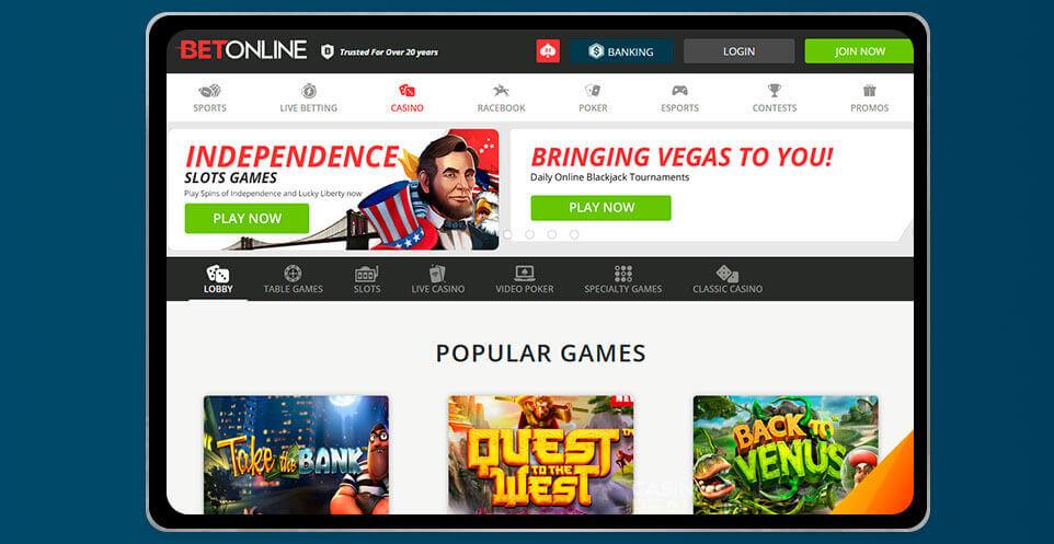 image of BetOnline Casino App on IPad