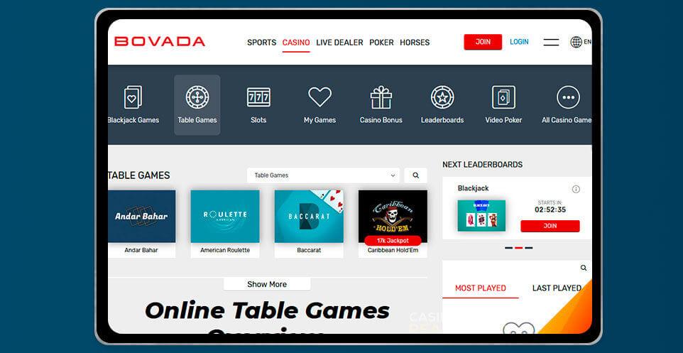 image of Bovada Casino App on IPad
