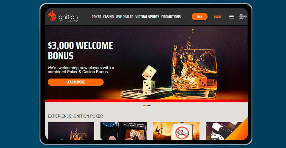 image of Ignition Casino App on IPad