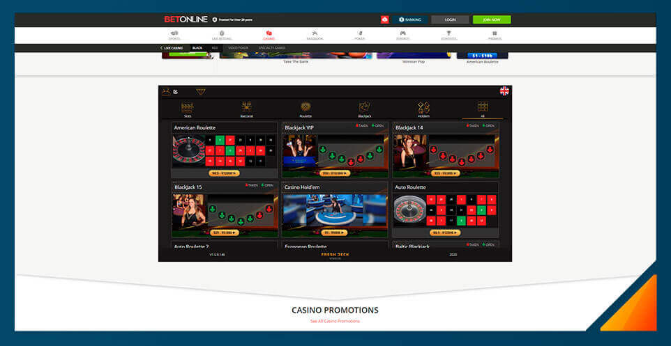 Image of Betonline's Black Live Dealer Casino