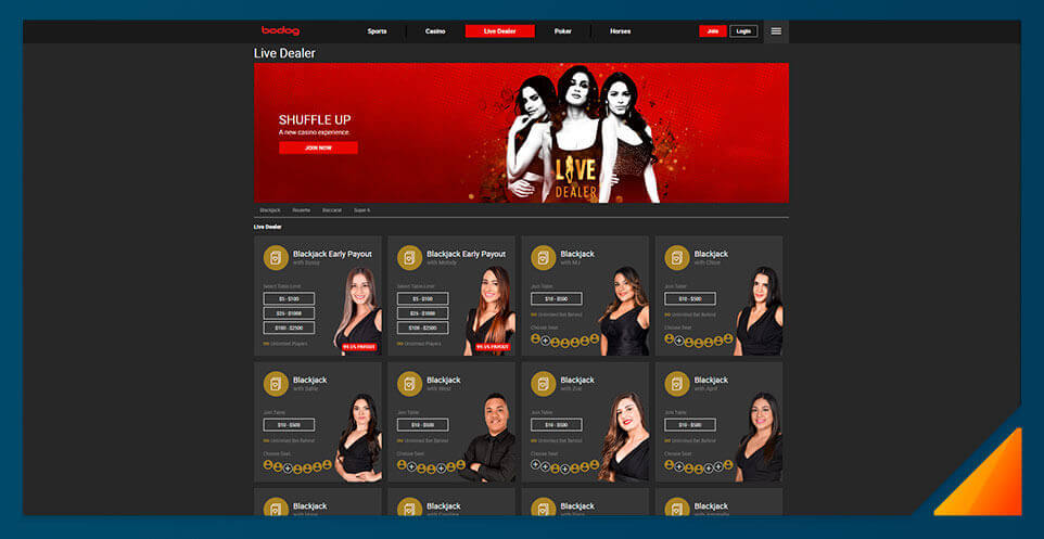 Image of Bodog's Live Dealer Casino
