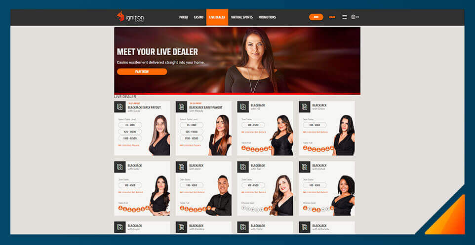 Image of Ignition's Live Dealer Casino