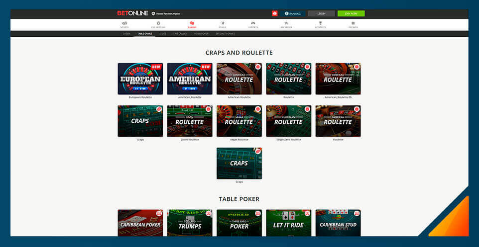Image of BetOnline Casino's Roulette Selection