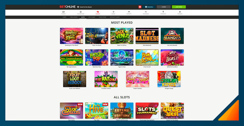 Image of BetOnline Casino's slot games