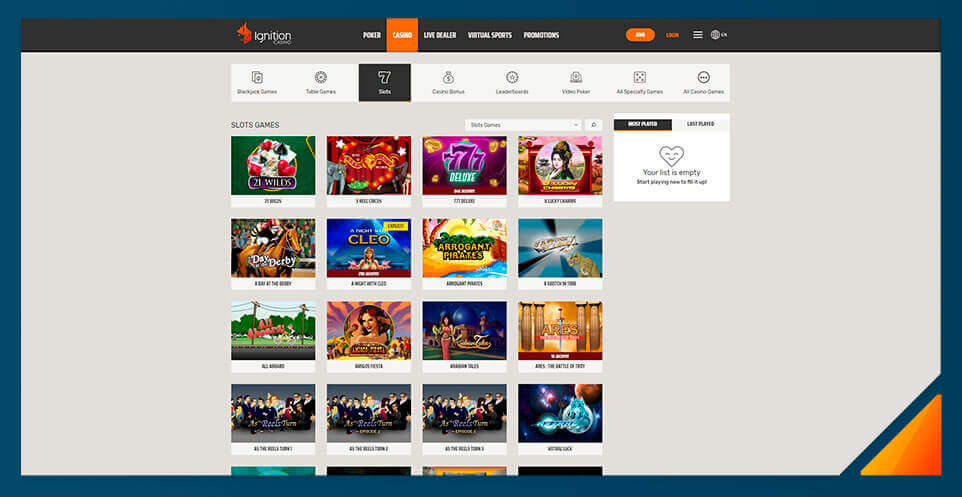 Image of Ignition Casino's slot game selection
