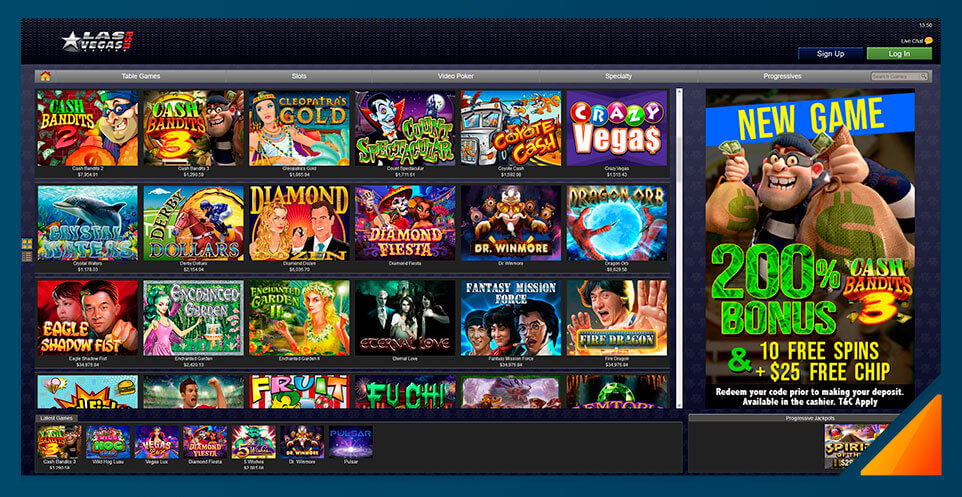 Image of Las Vegas USA slot game selection