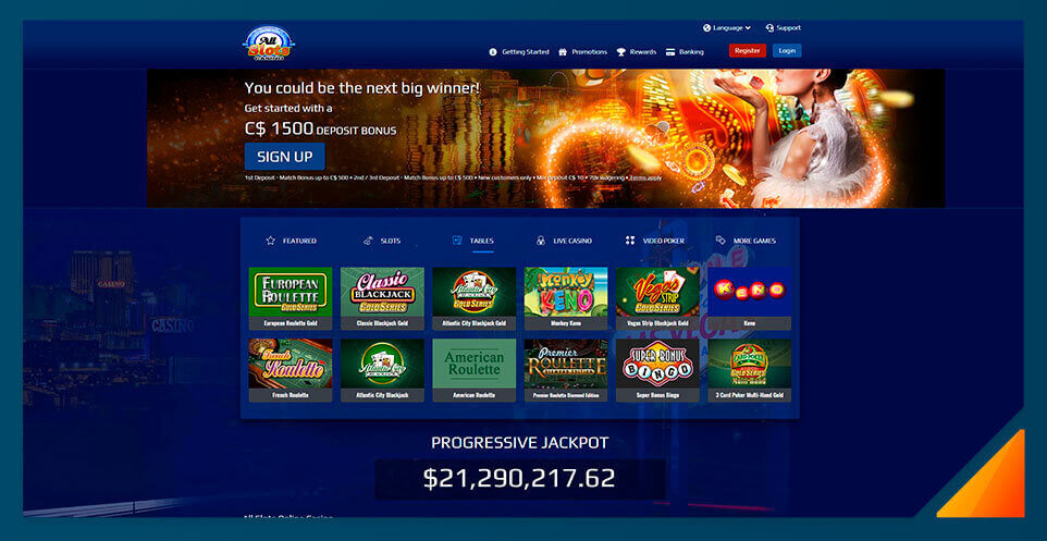 Image of Blackjack games at All Slots Casino