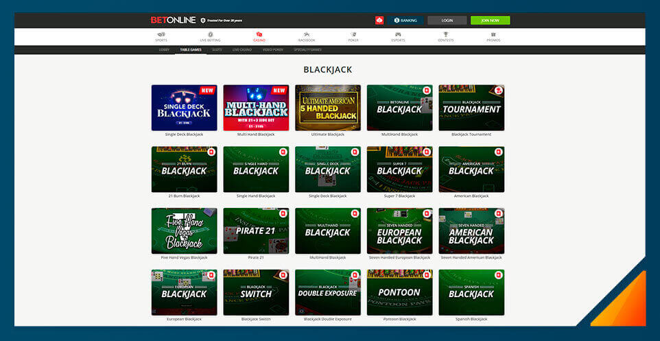 Image of Blackjack games at BetOnline Casino