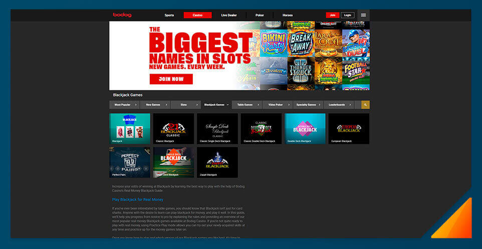 Image of Blackjack games at Bodog Casino