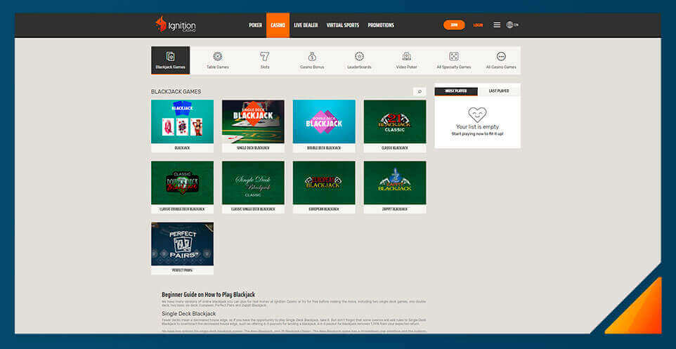 Image of Blackjack games at Ignition Casino