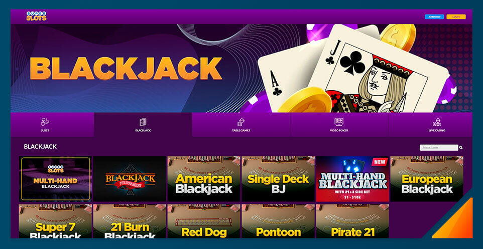 Image of Blackjack games at SuperSlots.ag