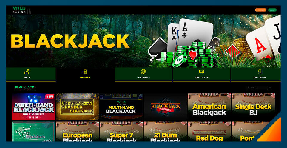 Image of Blackjack games at Wild Casino