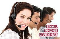 Email, phone, live chat